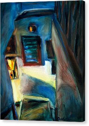 Shadows On The Down Stairs Canvas Print by Bob Dornberg