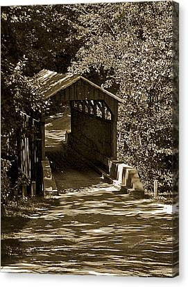 Digiart Canvas Print - Shady Covered Bridge In Chocolates by DigiArt Diaries by Vicky B Fuller