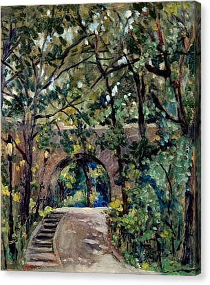 Shady Path Near The Cloisters Fort Tryon Park Nyc Canvas Print by Thor Wickstrom