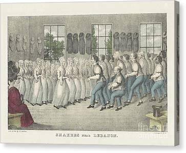Colonial Man Canvas Print - Shakers Near Lebanon by Nathaniel Currier