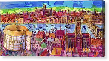 Shakespeare's Globe Theater On The Southbank Canvas Print by Jane Tattersfield