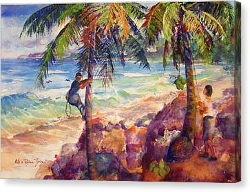Shaking Down Coconuts Canvas Print by Estela Robles