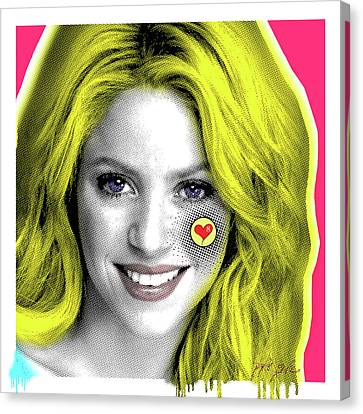 Shakira, Pop Art, Pop Art, Portrait, Contemporary Art On Canvas, Famous Celebrities Canvas Print by Dr Eight Love