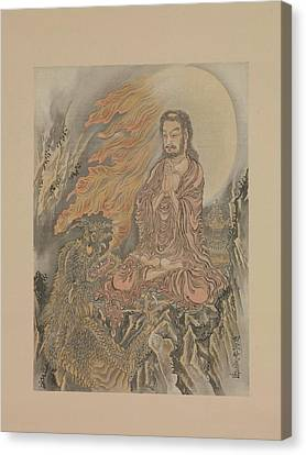 Shakyamuni Conquering The Demons Shaka Gma-zu Canvas Print by Kawanabe Kysai