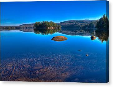 Autumn Leaf On Water Canvas Print - Shallow Water On Seventh Lake by David Patterson