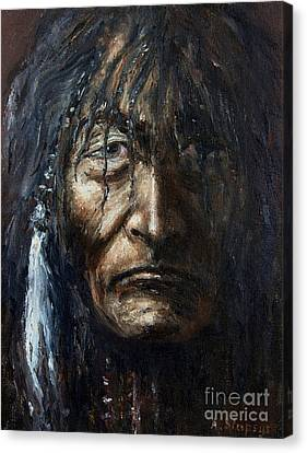 Canvas Print featuring the painting Shaman by Arturas Slapsys
