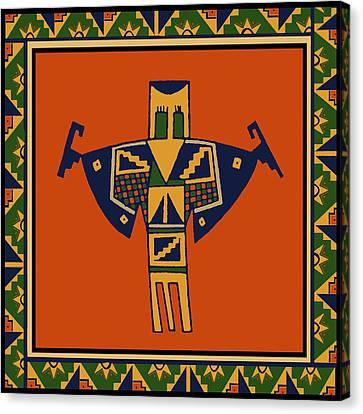 Shaman Spirits Dance Canvas Print by Vagabond Folk Art - Virginia Vivier