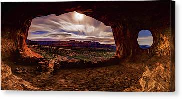 Shaman's Cave By Moonlight Canvas Print by ABeautifulSky Photography