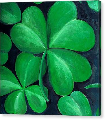 St Canvas Print - Shamrocks by Nancy Mueller