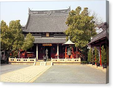 Shanghai Confucius Temple - Wen Miao - Main Temple Building Canvas Print by Christine Till