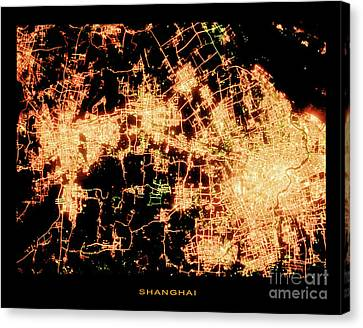 Canvas Print featuring the photograph Shanghai From Space by Delphimages Photo Creations