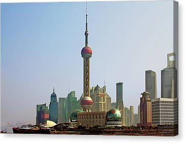 Shanghai Pudong - Today Denser Than Yesterday But Less Than Tomorrow Canvas Print by Christine Till