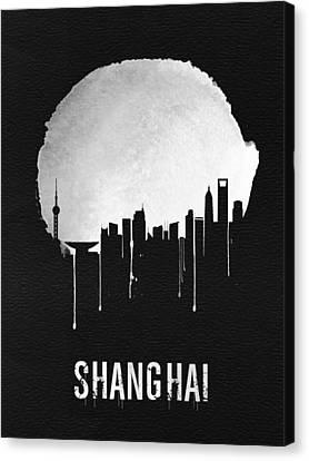 Shanghai Skyline Black Canvas Print