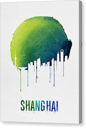 Shanghai Skyline Blue Canvas Print