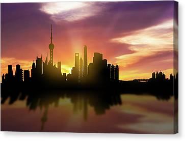 Shanghai Skyline Sunset Chsh22 Canvas Print