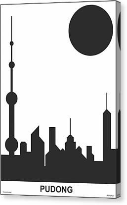 Shanghai Sunshine Black White Canvas Print by Asbjorn Lonvig