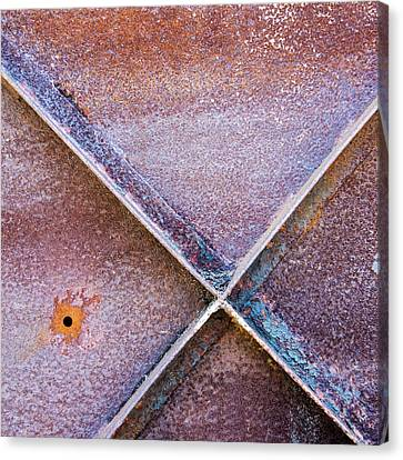 Canvas Print featuring the photograph Shapes And Textures On Bunker Door by Gary Slawsky