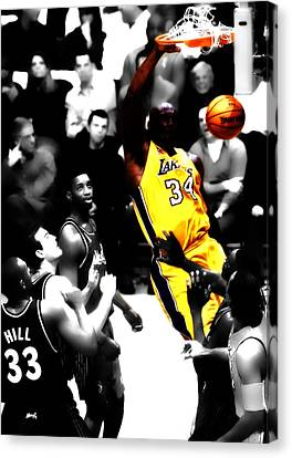 All Star Game Canvas Print - Shaq Monster Slam by Brian Reaves