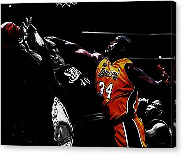 Patrick Ewing Canvas Print - Shaq Protecting The Paint by Brian Reaves