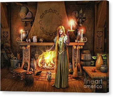 Canvas Print featuring the painting Share My Fire And Candle Light by Dave Luebbert