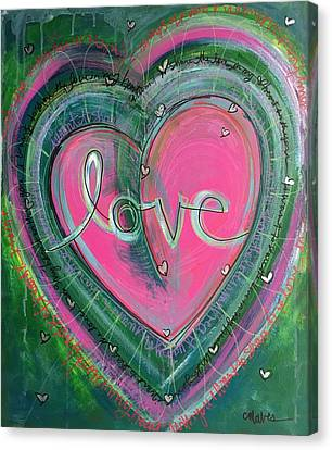 Canvas Print featuring the painting Share My Love Heart by Laurie Maves ART