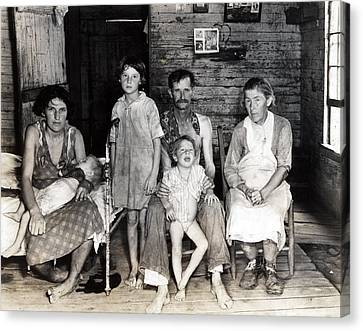 Sharecropper Bud Fields And His Family Canvas Print by Everett