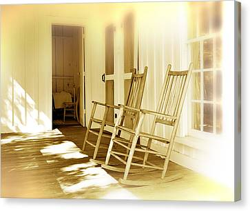 Rocking Chairs Canvas Print - Shared Moments by Mal Bray