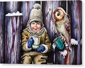Canvas Print featuring the painting Sharing A Hot Chocolate by Geni Gorani