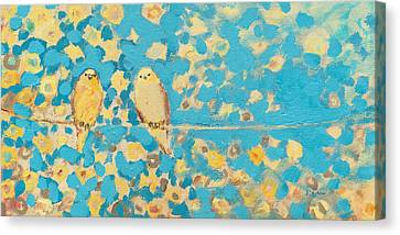 Canary Canvas Print - Sharing A Sunny Perch by Jennifer Lommers