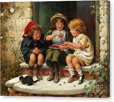 Front Steps Canvas Print - Sharing The Cherries by Joseph Clark
