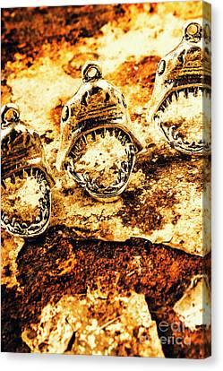 Shark Pendants On Rusty Marine Background Canvas Print