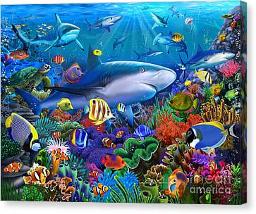 Shark Reef Canvas Print by Gerald Newton