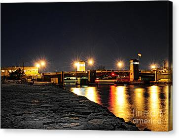 Shark River Inlet At Night Canvas Print by Paul Ward