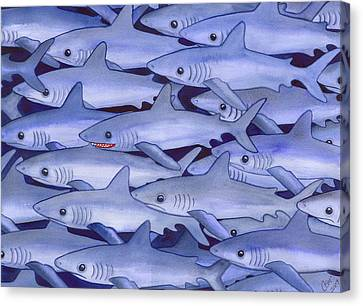 Frenzy Canvas Print - Sharks by Catherine G McElroy