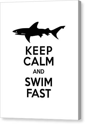 Sharks Keep Calm And Swim Fast Canvas Print by Antique Images