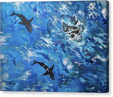 Sharks#3 Canvas Print by Darren Mulvenna