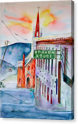 Canvas Print featuring the painting Sharon House by Sharon Mick