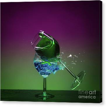 Shattered Glass - Purple And Green Canvas Print