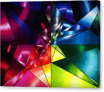 Shattered Rainbow Triangles Optical Art Canvas Print by Nalinne Jones