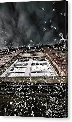 Destruction Canvas Print - Shattering Pieces Of Glass Falling From Window by Jorgo Photography - Wall Art Gallery
