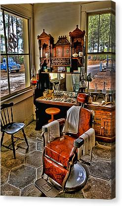 Barberchairs Canvas Print - Shave And A Haircut 2 Bits by Michael White