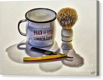 Canvas Print featuring the photograph Shaving Still Life by Walt Foegelle