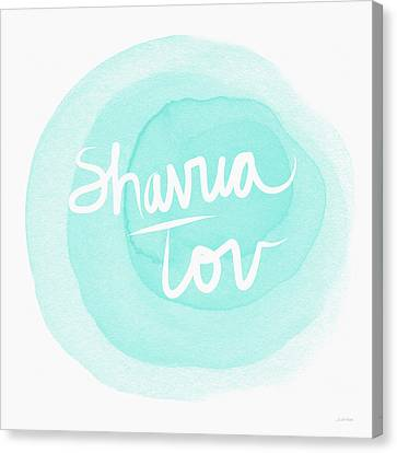 Shavua Tov Blue And White- Art By Linda Woods Canvas Print by Linda Woods