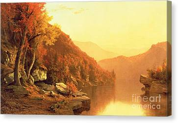Autumn Leaf On Water Canvas Print - Shawanagunk Mountains by Jervis McEntee