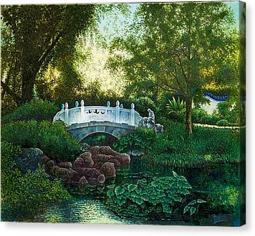 Canvas Print featuring the painting Shaw's Chinese Garden by Michael Frank
