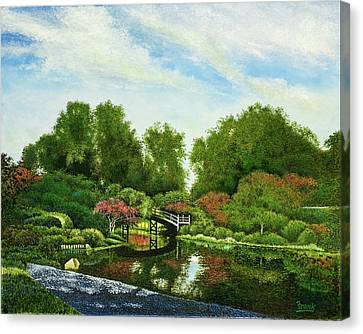 Canvas Print featuring the painting Shaw's Japanese Gardens by Michael Frank