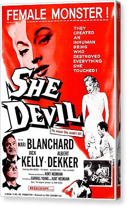 Horror Fantasy Movies Canvas Print - She Devil, Blonde Woman Featured by Everett