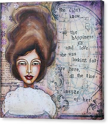 She Didn't Know - Inspirational Spiritual Mixed Media Art Canvas Print by Stanka Vukelic
