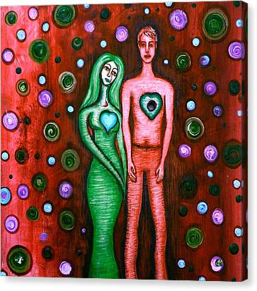 She Grieves The Hole In His Heart-red Canvas Print by Brenda Higginson