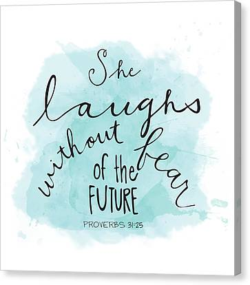 Bible Verse Canvas Print - She Laughs by Nancy Ingersoll